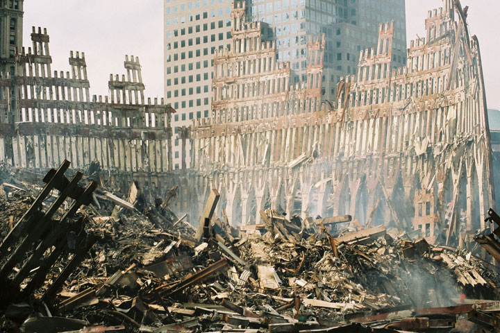 WTC-Wreckage-exterior_shell_of_south_tower